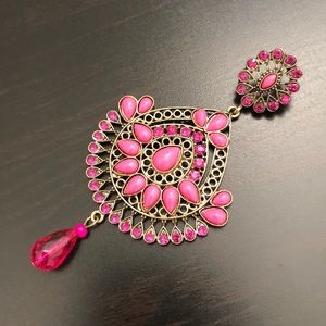 CB1973 Jewelry - Pink & Gold Jeweled Chandelier Earrings